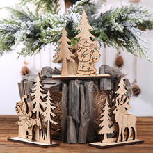 1set Christmas Wooden Decoration Xmas Tree Snata Elk Diy Wood Crafts for Christmas Party Home Table Ornaments Kids Gift led light christmas tree star car wooden pendants ornaments xmas diy wood crafts kids gift for home christmas party decorations