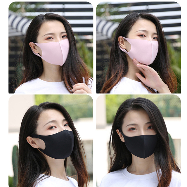 1PC Black Korean Version Women Men Ice silk Cotton Mouth Mask Breathable Face Mask Reusable Windproof Face Shield Unisex 2
