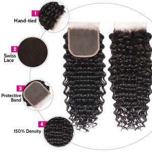 Image 5 - Unice cabelo brasileiro onda profunda fechamento do laço 10 20 Polegada parte do meio livre 4x4 laço suíço fechamento do cabelo humano remy cabelo