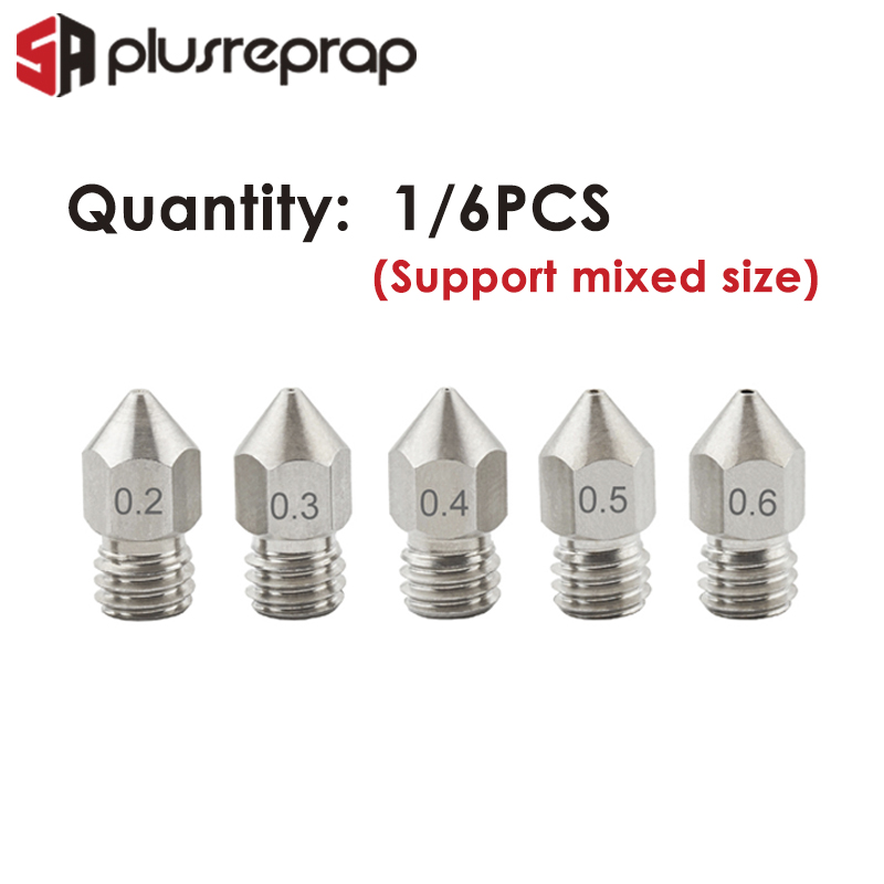 3D Printer MK8 V5 V6 stainless steel 6Pcs M6 Nozzle 0.2-0.3-0.4-0.5-0.6mm Extruder Print Head For 1.