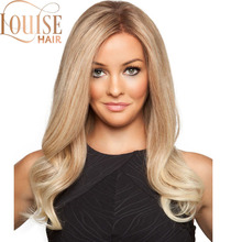 Louise Hair Natural Wave Straight Ombre Long Blonde Brown Wavy Wigs For Women Lo