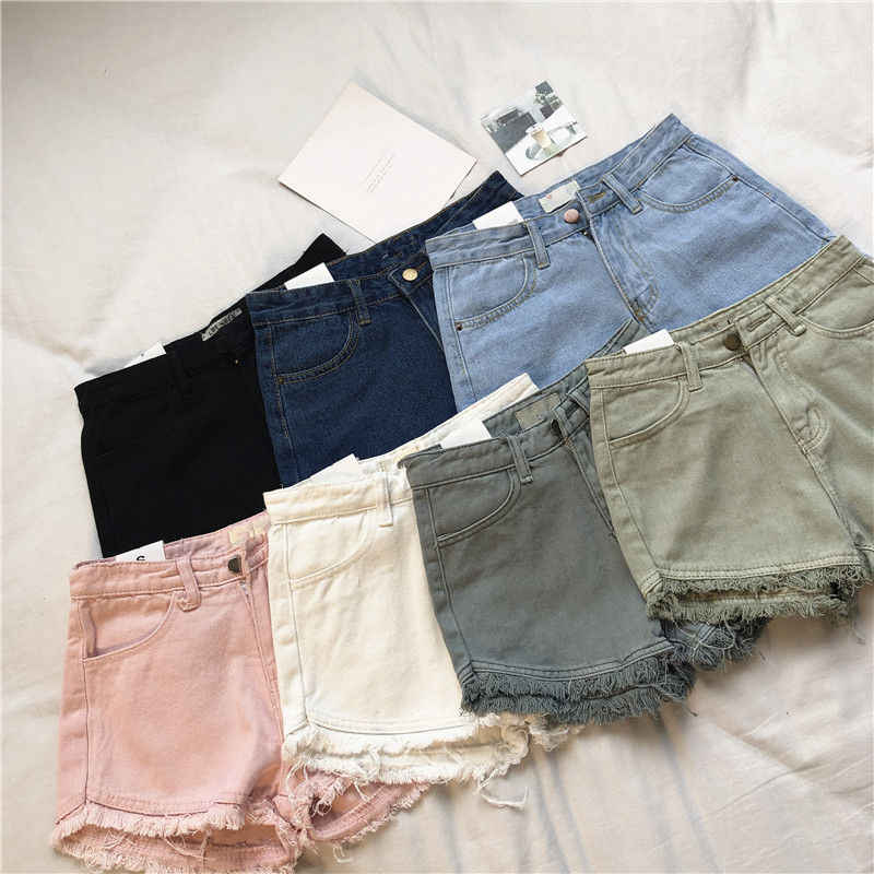 Streetwear Denim Shorts Donne Bianco Nero Rosa Mini Breve Vita Alta Shorts Casual Sexy Dei Jeans di Estate Shorts Donne Hotpants C6099