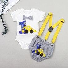 Bebê recém-nascido meninos cavalheiro roupas de manga curta carta macacão topos correias shorts roupas de aniversário para bebês 0-24 m