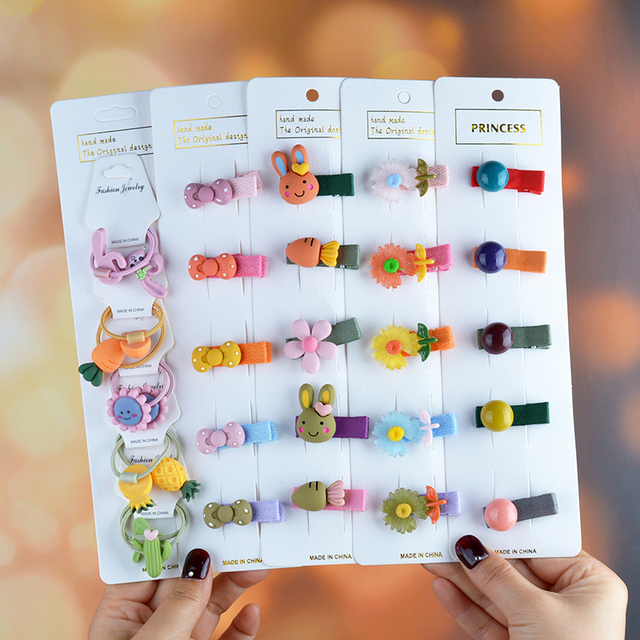 1Set Cute Girls Cartoon Animal Fruit Colorfur Hairpins Children Sweet Hair Clip Barrettes Headband Kids Fashion Hair Accessories 1