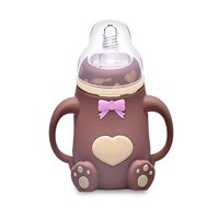 Baby Feeding Bottle 240ML Bear Design Arc Type Water Feeder with Silicone Nipple High Quality