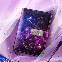 B6 Notebook Agenda Diary Planner Organizer Bullet Journals Kawaii Twelve Constellations Purple Leather Cover Notepad Stationery