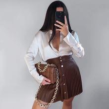 Twarda skóra ekologiczna spódnica wysokiej talii przyciski sexy mini plisowana spódnica asymetryczna moda faldas cortas za 2021 kobiet jesień tanie tanio AOWOFS COTTON Poliester CN (pochodzenie) Osób w wieku 18-35 lat A-LINE WOMEN DF-5820 xdh empire Stałe High Street Powyżej kolana Mini