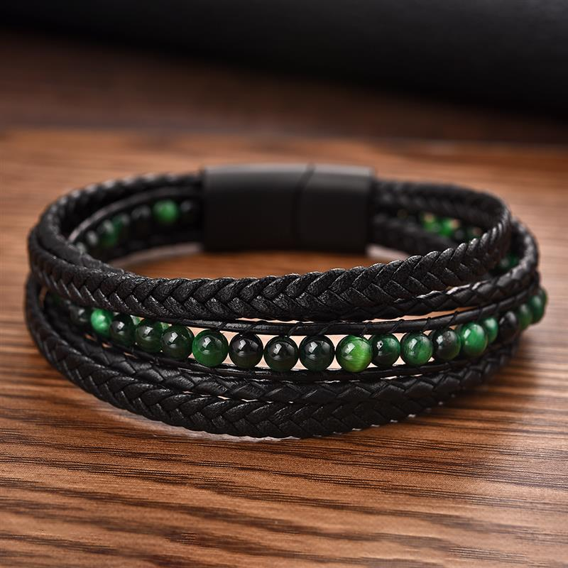 Punk Leather bracelet for men(China)