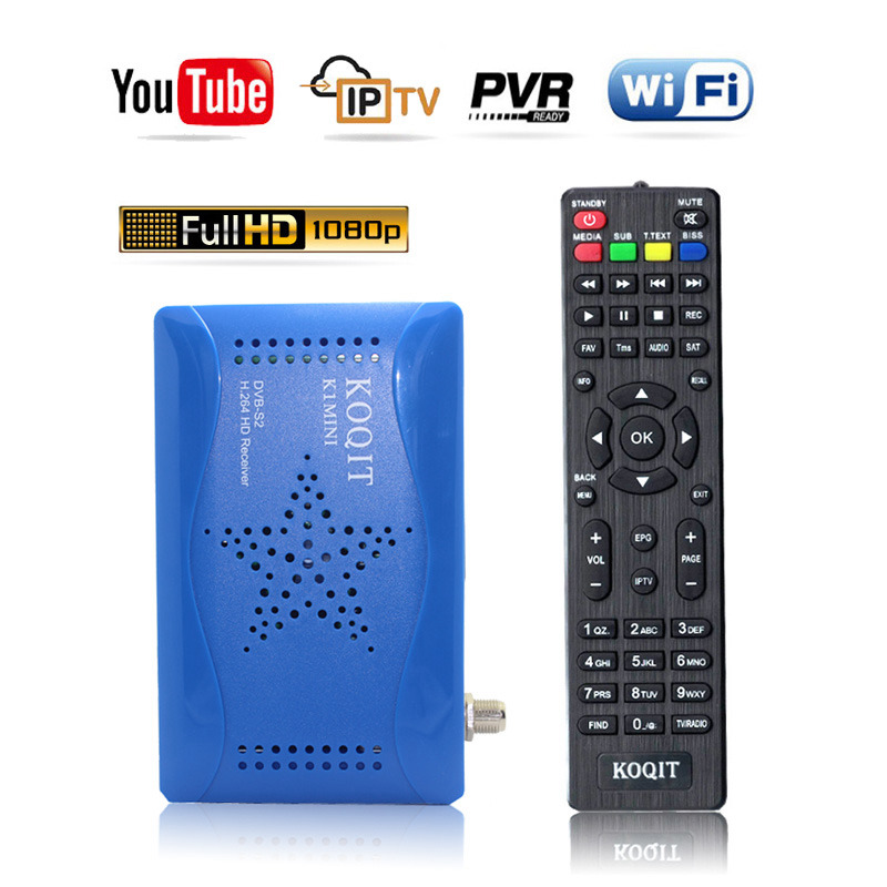 Koqit DVB-S2 TV Tuner Receptor Satellite Receiver Digital Set Top Box USB DVB S2 Cccam/Newcam Scam AutoBiss Decoder WIFI Youtube
