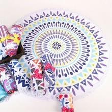 Microfine Round Beach Towel Tessellate Mandala Women Summer Travel Large Microfiber For Adults Boho Blanket