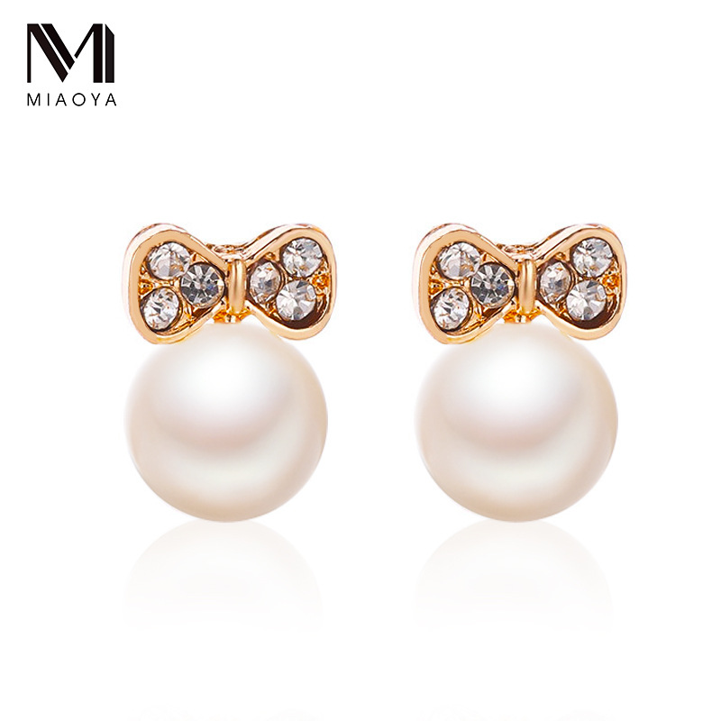 Korean Crystal Pearl Stud Earrings For Women Simple Bow Small Earring Fashion Ear Jewelry Wedding Gift Mujer Boucle D'oreille