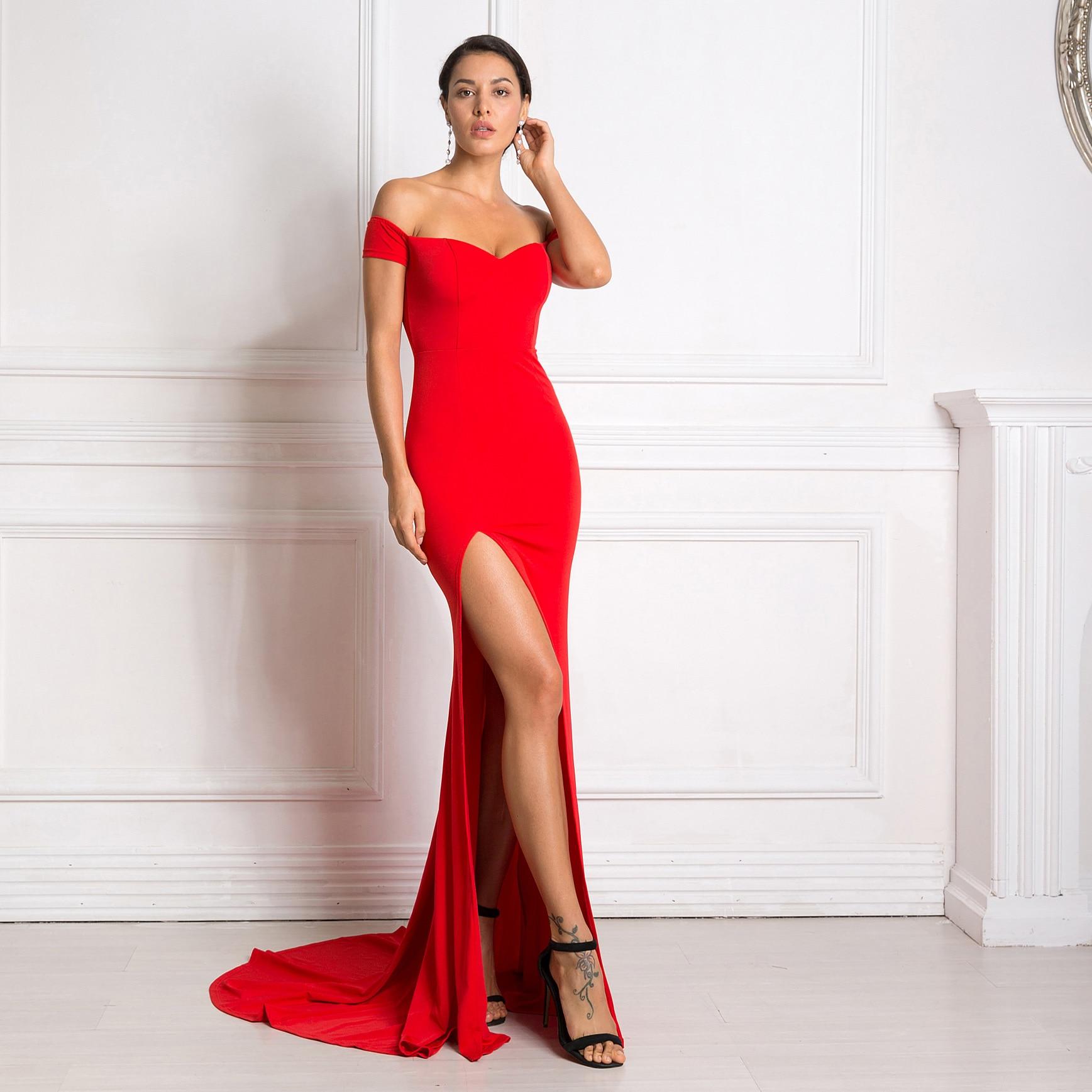 2019 Sexy Off The Shoulder Slash Neck Mermaid Maxi Dress Bodycon Split Red Backless Long Dress Black Floor Length Club Dress