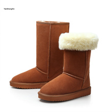 купить YANSHENGXIN Shoes Woman Boots Cowskin Snow Boots Warm Wool Blended High Quality Women Shoes Winter Boots Ladies Mid-Calf Booties дешево
