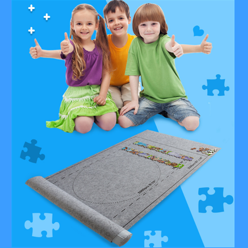 Besegad Puzzles Mat Roll Felt Jigsaw Play Mat Large For Up To 1500 Pieces Puzzle Accessories Portable Travel Storage Bag