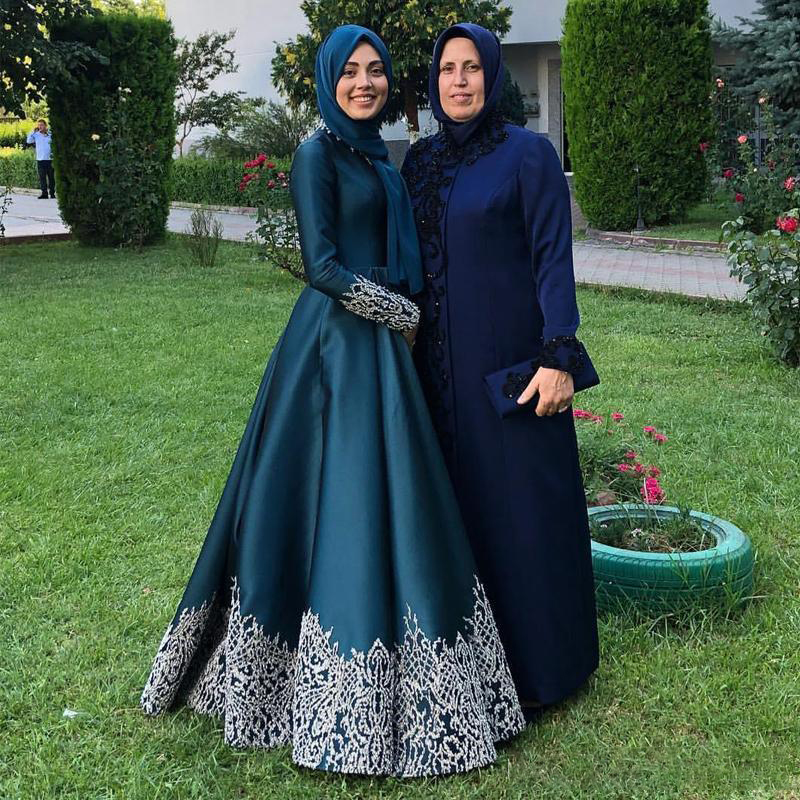 Muslim Evening Dresses Long Sleeve A Line Appliques Formal Dress Women Floor Length Prom Party Gowns Robes de Soiree