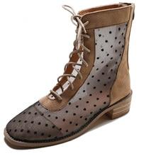 Women's khaki knee boots Summer breathable mesh travel boots Cross strap low-heeled single shoes Back zipper convenient sandals cross strap back zipper sandals