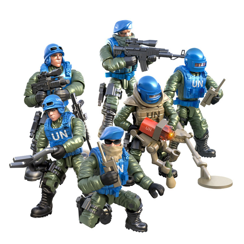 Mini Soldier Set United Nations peacekeeping force Figurines with Building Blocks Gun Army Compatible Major Brands Toys Gift
