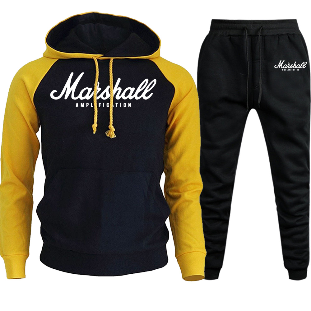 Marshall Sets Men Tracksuits 2019 Casual Hoodies Pants Mens Sportswear Pant Hoody Sweatshirt Male Suits Jogging Sweatpant 2 Pcs