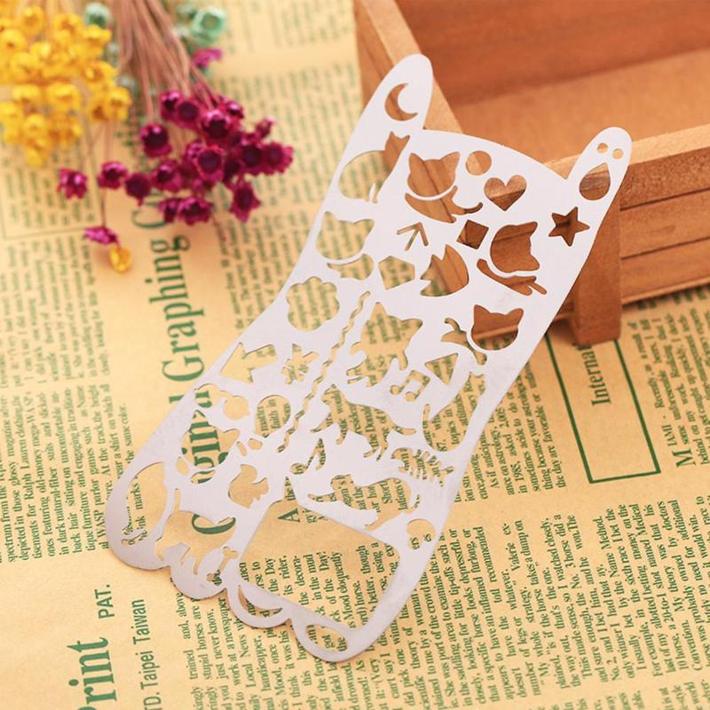 Multi-function Ruler Drawing Graffiti Bookmark Stainless Steel Hollow Pattern Ruler Geometry Lace Ruler Diy Drawing Tool