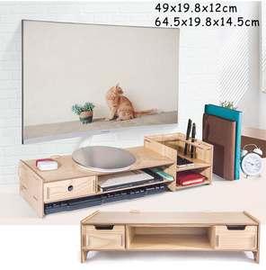 Desk-Organizer Monitor-Stand-Riser Keyboard-Mouse-Storage Computer Office-Supplies Wooden