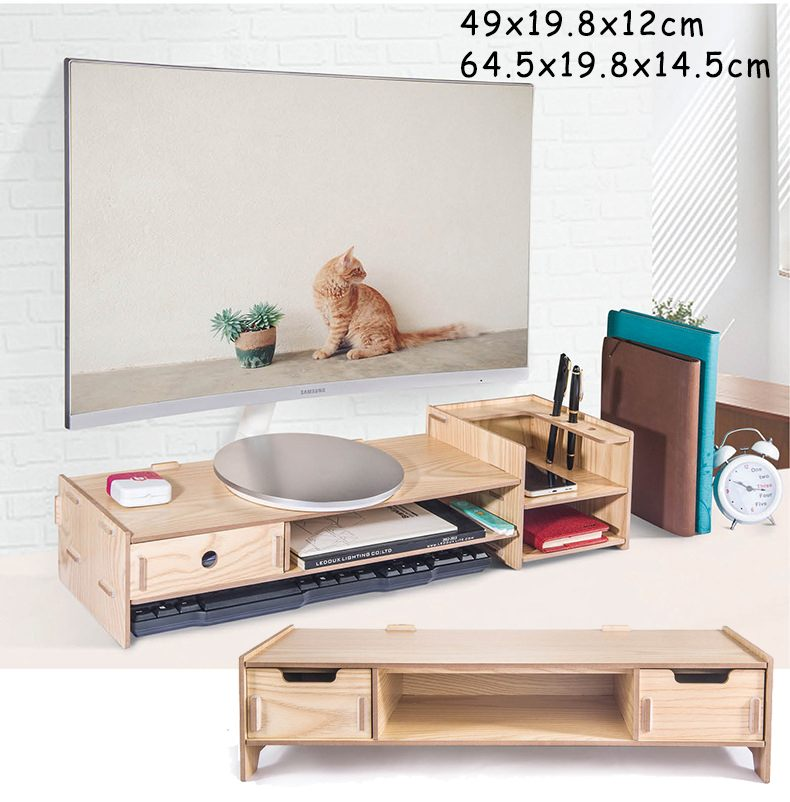 Wooden Monitor Stand Riser Computer Desk Organizer With Keyboard Mouse Storage Slots For Office Supplies School Computer