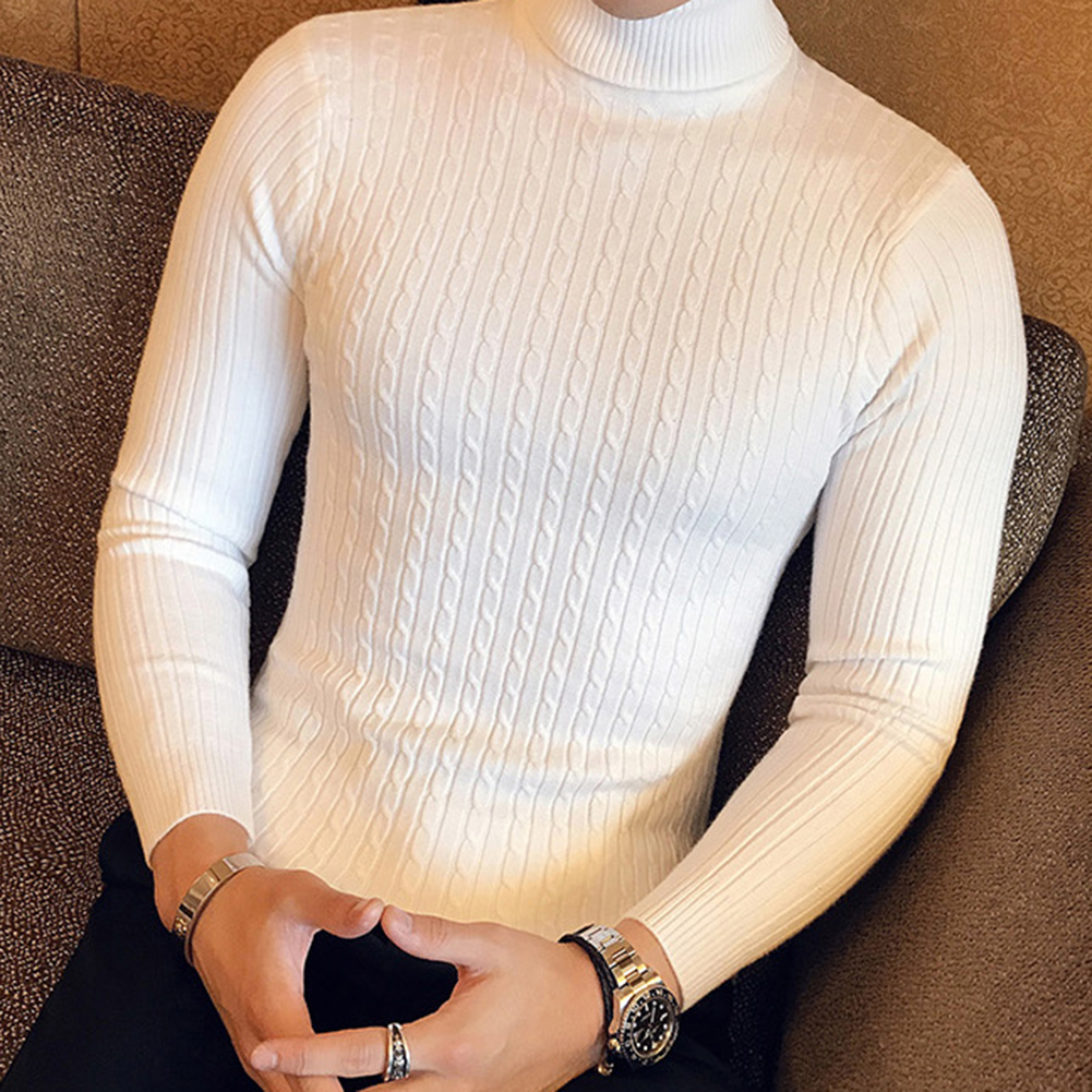 Casual Men Winter Solid Color Turtle Neck Long Sleeve Twist Knitted Slim Sweater Men's Knitted Sweaters Pullover Men Knitwear 4