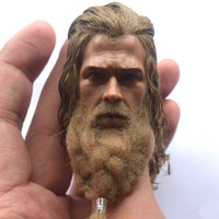 1/6 Scale Thor Head Sculpt With Real Hair Moustache Decadent Edition for 12in Hottoys Phicen Doll Toys Collection