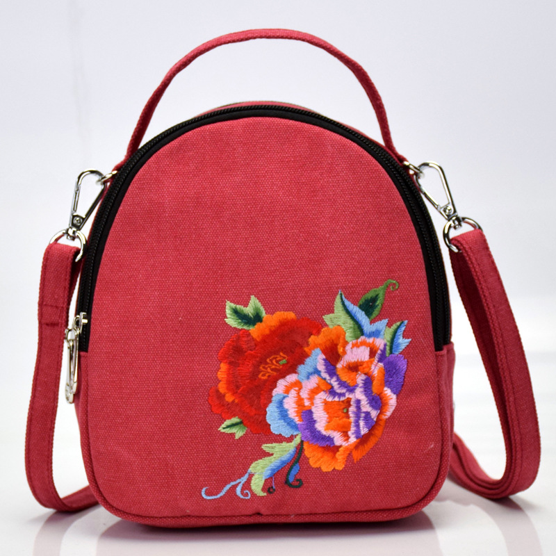 Fashion National Style Embroidery Pocket Canvas Embroidery Bags Chinese Peony Portable Slant Single Shoulder Women's Bag  - buy with discount