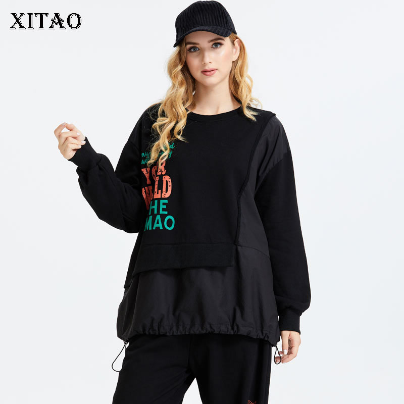 XITAO Patchwork Letter Pullover Hoodie Women 2020 Autumn Fashion New Style Temperament All match O Neck Women Clothes ZP2645 1