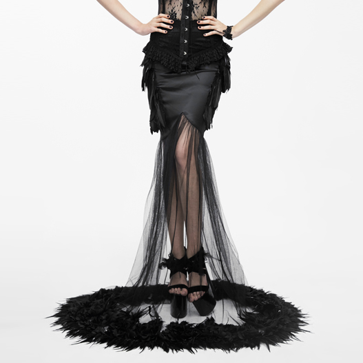 Gothic Floor-Length Long Women Skirts Black Trumpet Party Skirts See-Through Feathers Skirts