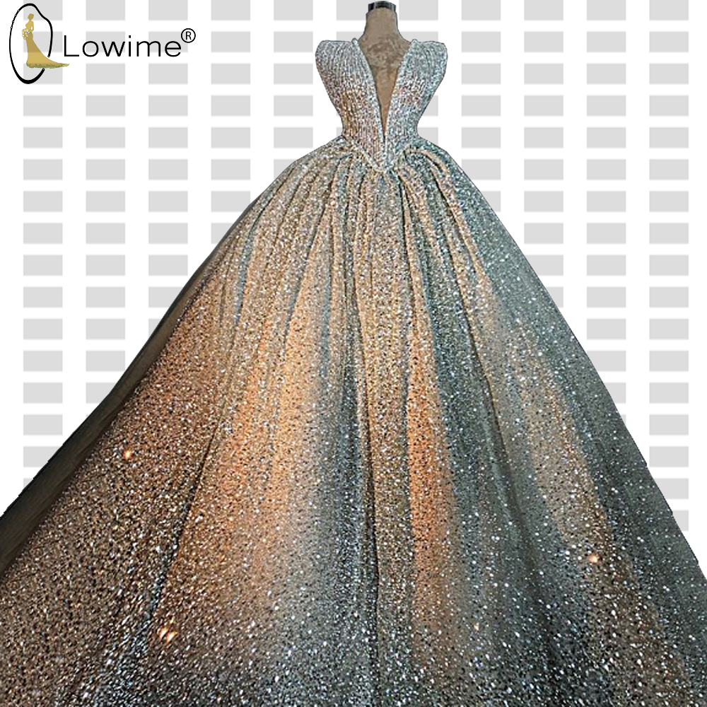 Dubai Puffy Glitter Sequined Evening Dresses A Line Deep V Neck Floor Length Robe De Soiree Prom Party Gowns