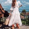 Богемный Вдохновленный Раффлед белые длинные рукава сексуальное женское платье с вырезами на талии завязывается сзади Многослойные Вечер...