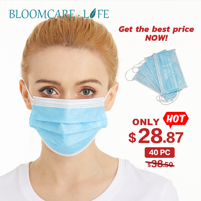 ship in 24 hours【Bloomcare】 Anti Flu Disposable three-layer protective masks bacteria face dust-proof safety masks 4