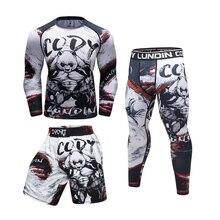Boxing Training MMA Rashguard Outfits Comppression Jersey Pants Muay Thai Shorts Kickboxing Fitness Sportwear Jiu Jitsu Trunks