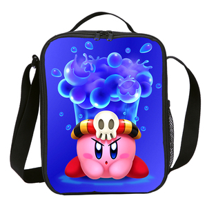 Image 2 - Mini Lunch Bag Kids Boys Girls Fashion Cute Cartoon Anime Kirby 3D Printing Ice Bag Insulated Thermal Picnic Lunchbox Sac A Main