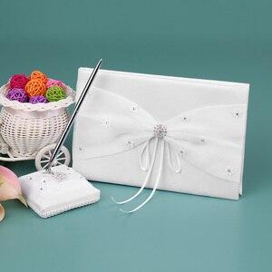 Image 2 - 5pcs Satin Flower Girl Basket Wedding Ring Bearer Cushion Ring Pillow Wedding Guest Book Pen Holder Wedding Decoration Supplies
