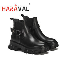 Женские ботинки мартинсы на платформе без шнуровки осень/зиму