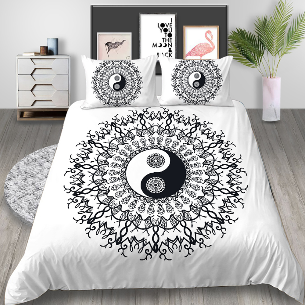 Thumbedding Yin And Yang Bedding Set Taiji Simple Fashion Duvet Cover Chinese King Queen Twin Full Double Single Soft Bed Set