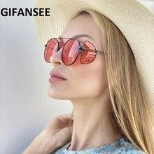 GIFANSEE Retro Steampunk Sunglasses Round Designer Steam Punk Metal Shi