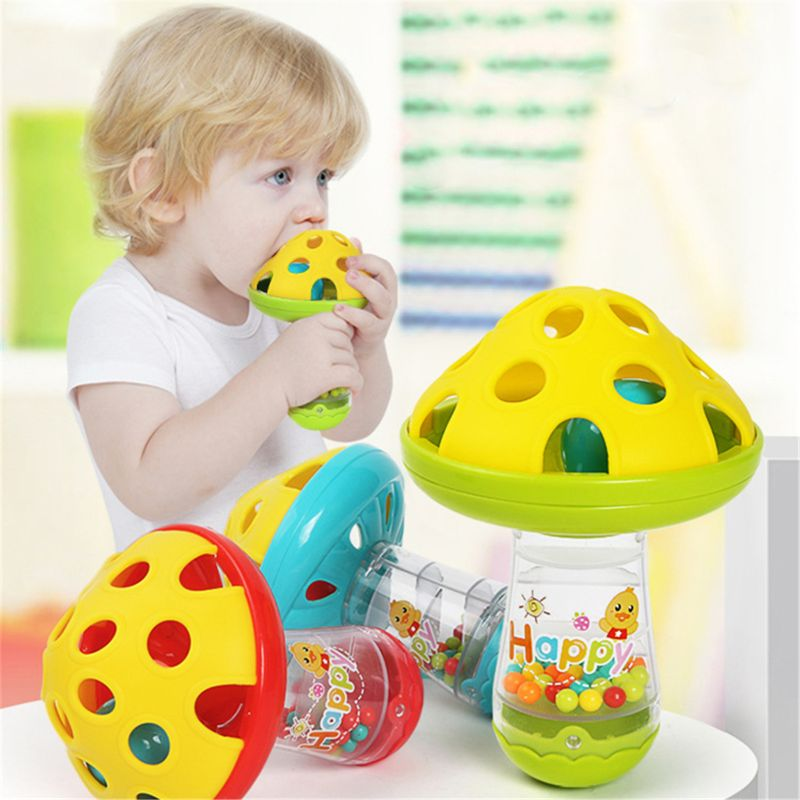 Baby Non-toxic Comforting Baby Teether Toys Mushroom Hand Jingle Shaking Bell Baby Rattles Toys Music Handbell Kids