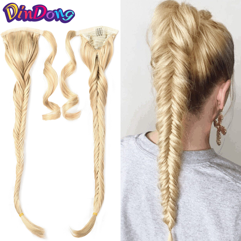 DinDong Synthetic Ponytail Extensions 24inch Fishtail Braids Hair Drawstring Braiding Clip in Ponytail Hair Extension