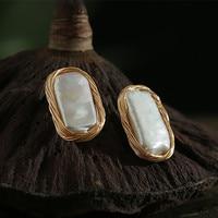Bebeoso Handmade Fresh Water pearl earrings Winding of gold elegant Irregular Baroque pearl stud earrings For Women Fine Jewelry
