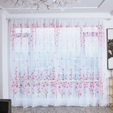 Door Screen Voile Window Sheer Curtain Blinds Drape Bedroom Curtains Pastoral Peach Blossom Backdrop Home Christmas Decorations