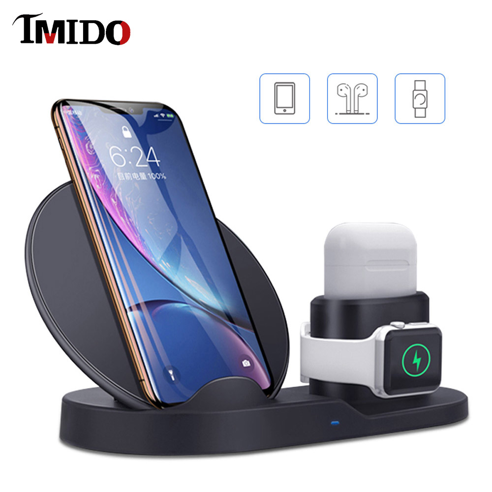 10W QI Fast Best Wireless Charger Stand For Samsung S9 Huawei P30 Pro cargador apple watch 4 3 IN 1 Charging Dock Iphone xr