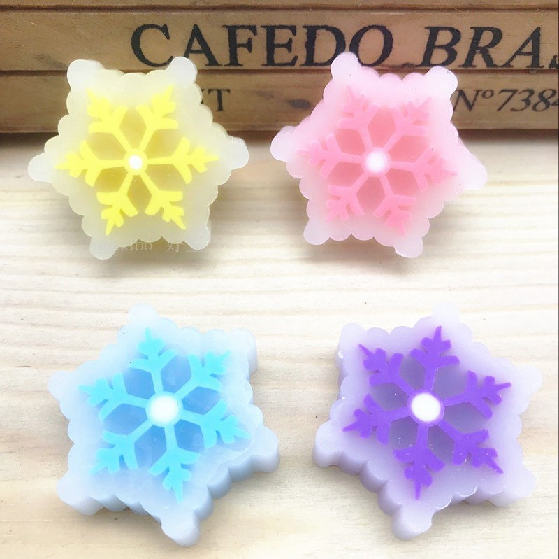 1Pcs New Crystal Christmas Transparent Eraser Snowflake Color Creative Cute Eraser Stationery New Arrival Hot Sell