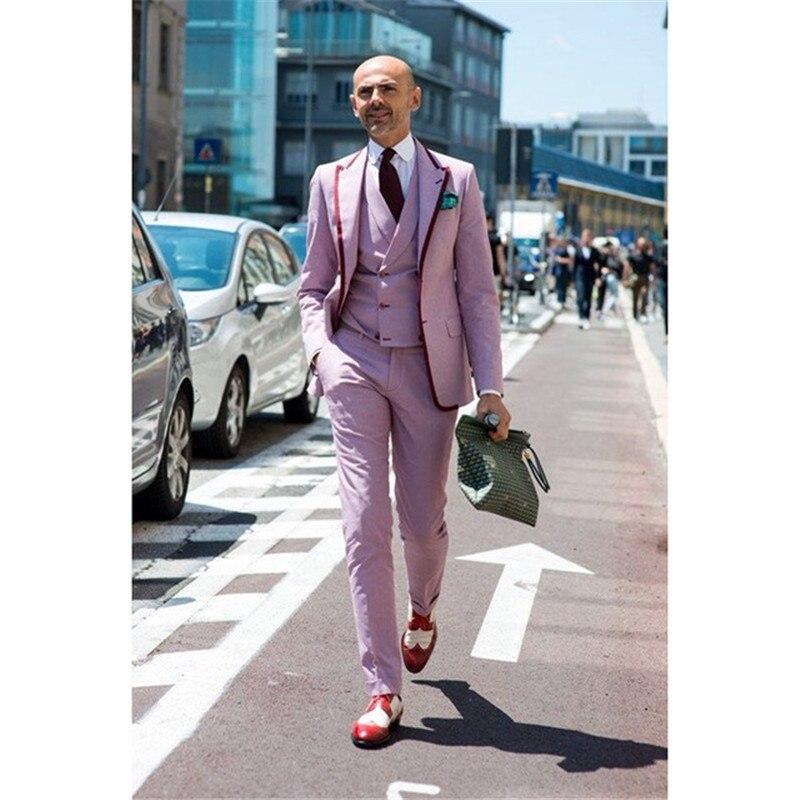 Terno Masculino Mens Suit (Jacket+Pants+Vest+Tie)  Hot Pink Tuxedo Formal Men's Suit Corset Ball Decoration Suit