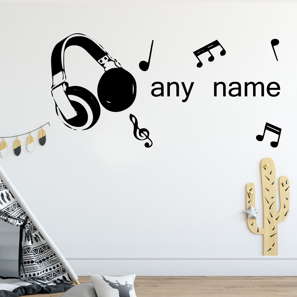 Modern Custom Name Vinyl Wall Sticker Music Wall Decals for Bedroom Kids Room Decoration Wall Decor Poster LW407 in Wall Stickers from Home Garden