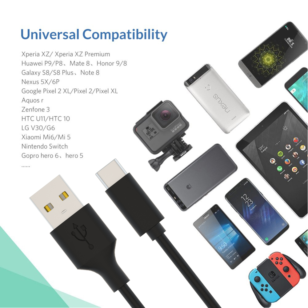 AZiMiYO USB Type C Cable Fast Charging Data Cable for Samsung S9 Charge Type C Mobile Phone Wire for Xiaomi Redmi note 7 Pro in Mobile Phone Cables from Cellphones Telecommunications