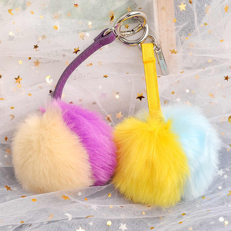 2019 Novo PomPom Keychain Bonito two-cor falsa pele de coelho bola pompom Fofo mulheres saco chave do carro da corrente chave llaveros anel porte clef