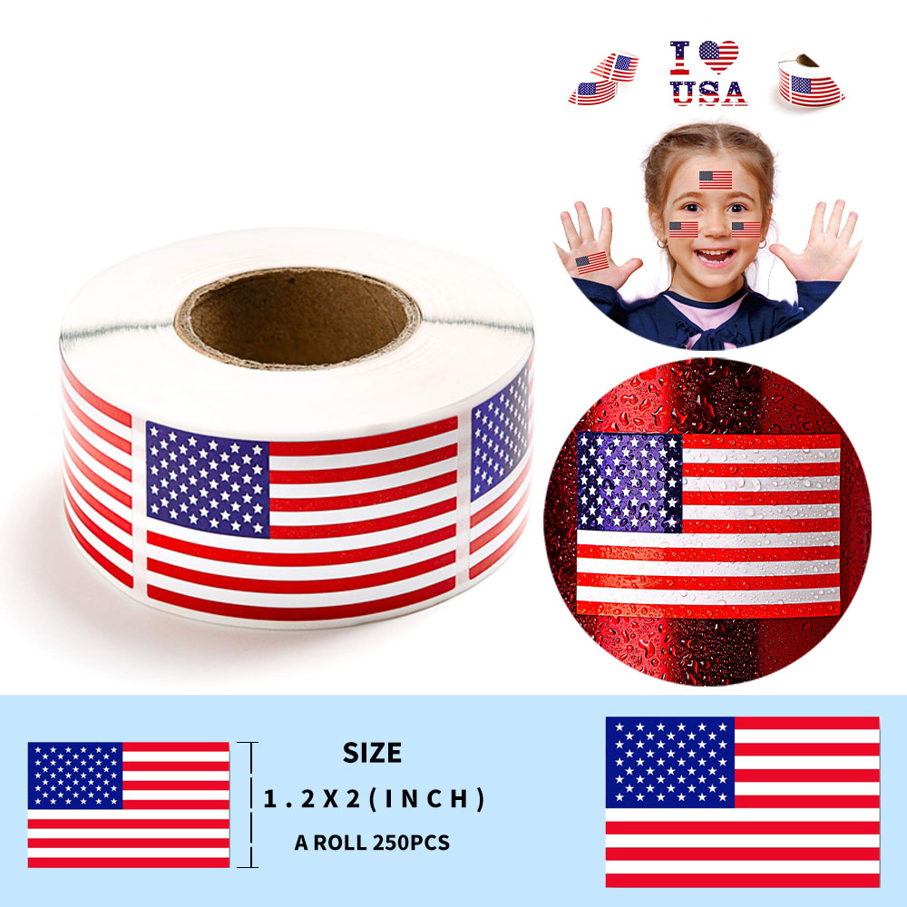 250 Small American Flag Stickers On A Roll Patriotic Stickers For Laptop Travel Luggage Cool Funny Sticker Kids Toys Sticker